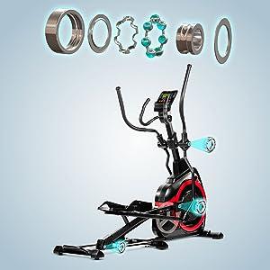 AsVIVA Ellipsentrainer Ergometer E4 mit APP-Bluetooth Steuerung Heimtrainer mit elliptischem Bewegungsablauf sowie XL Anti-Rutsch Pedale integrierte Handpulssensoren 18kg Schwungmasse