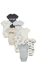 12 Months cats Onesies Brand Baby Girls 8-Pack Short-Sleeve Bodysuit