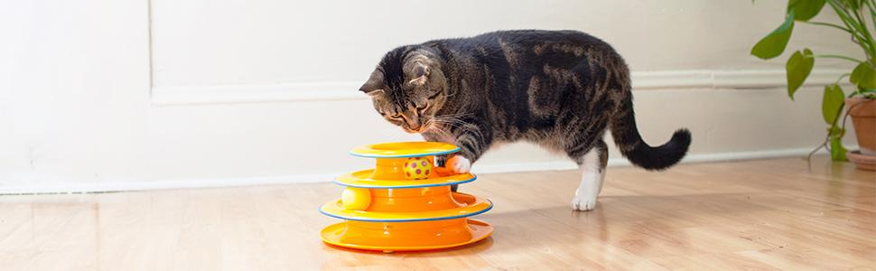 cat track toys, cat toys with balls, petstages cat toys, track toy for cats, tower of tracks