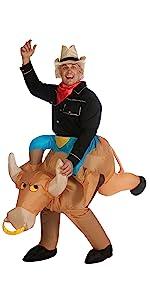 cowboy costume, riding a bull