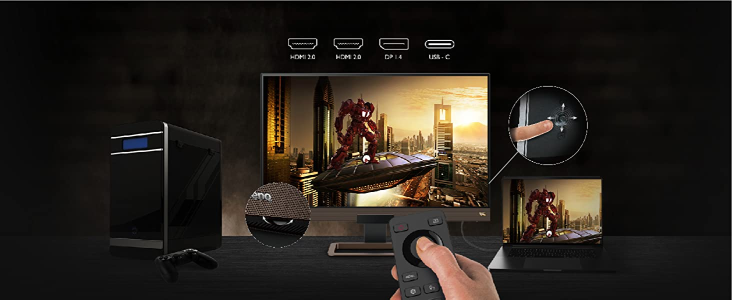 benq_ex2780q remote control volume wheel and 5 way navigator with usbc hdmi and display port