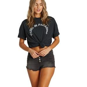 09ed9e7e7ce Amazon.com  Billabong Women s Buttoned Up Denim Short  Clothing