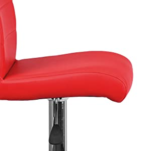 Contemporary Vinyl Adjustable Height Barstool with Rolled Seat and Chrome Base