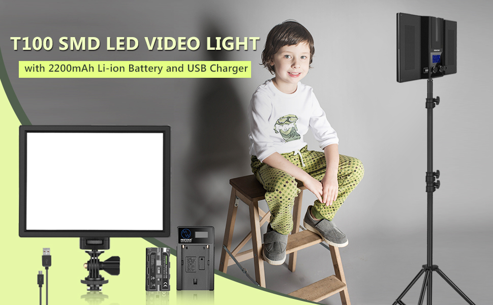 Bi-Color 3200K-5600K Dimmable Ultra Thin LED Panel with 2200mAh Li-ion Battery and USB Charger for Children Portrait Product Studio Photography Neewer T100 Softer SMD LED Video Light Lighting Kit