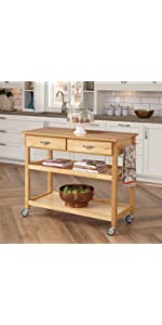 Delicieux Stainless Steel Top Kitchen Cart, Natural Finish · Solid Wood Top Kitchen  Cart, Natural Finish · Stainless Steel Top Kitchen Cart With Breakfast Bar,  ...