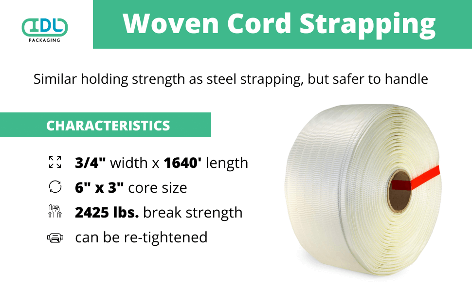 woven cord strapping white tape polyester poly strap packaging pallet package