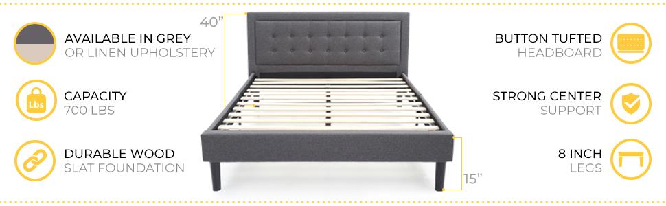 Mornington Upholstered Platform Metal Bed Frame with Headboard, Grey, Queen