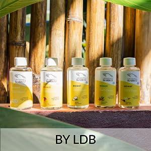 ldb monoï huiles solaires protection été bambou bronzage flacons cheveux