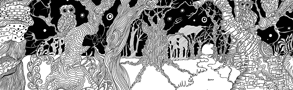Magic, trees, animals, owls, leaves, colouring, lines, pens, pencils, night, scene, mindfulness