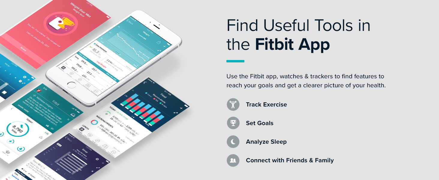 Smart phone screens showing fitbit mobile app