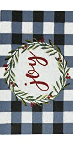 joy doormat, coir mat, holiday doormat, christmas doormat, buffalo check doormat, farmhouse doormat