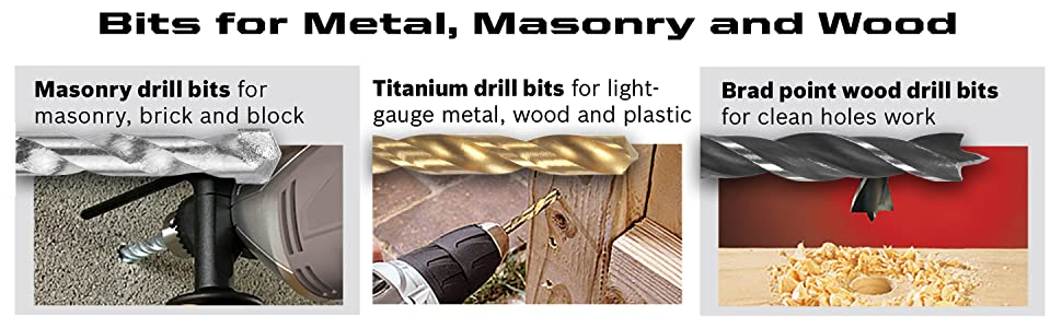 Bits for Metal, Masonry and Wood