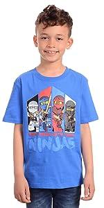 Lego Ninjago Big Boy's Boys Lego Ninjago Don't Mess with the Ninja's T-shirt Shirt, Blue, 8