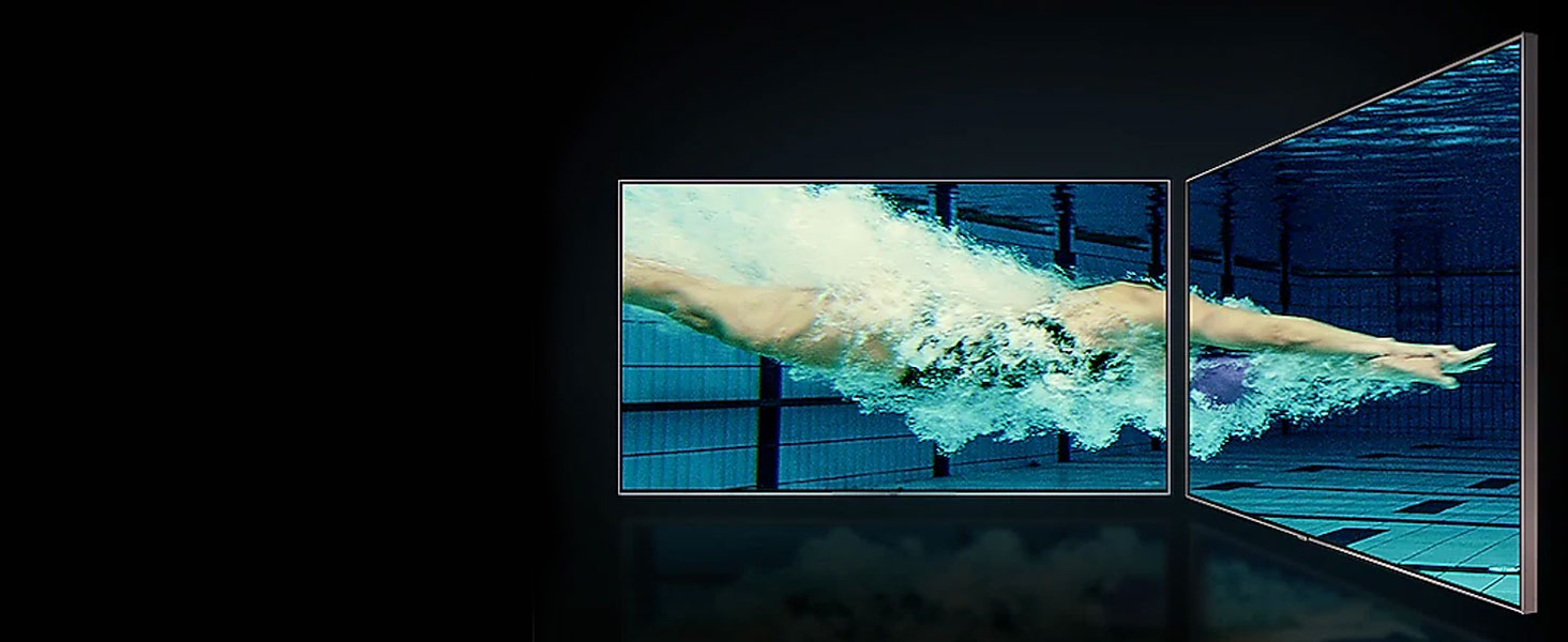QLED TV with underwater scene of a swimmer diving into a pool from 2 angles