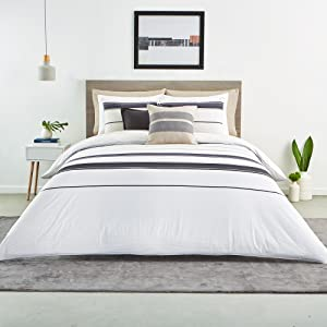 lacoste avoriaz duvet cover comforter stripe white soft cotton gray bedroom guestroom bedspread