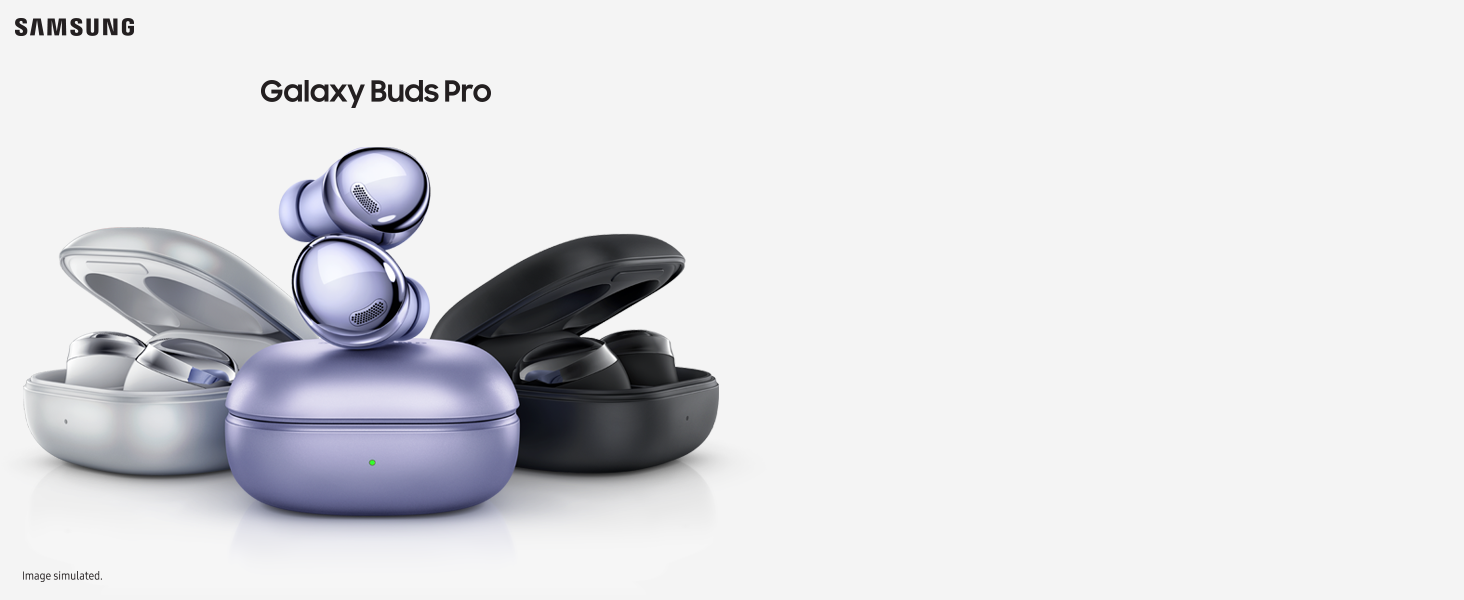 product image of the 3 colours of the Galaxy Buds Pro - Silver, Violet and Black