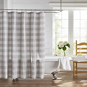 Sage Green Cream Wicklow Shower Curtain Buffalo Check Country Farmhouse 72x72