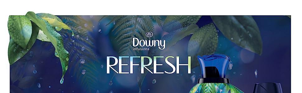 downy infusions fabric conditioner refresh scent, botanical, fabric softener, washing machine, dryer
