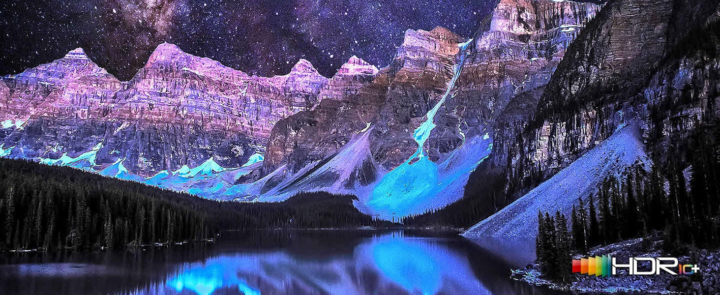Colorful mountain scene on a QLED TV