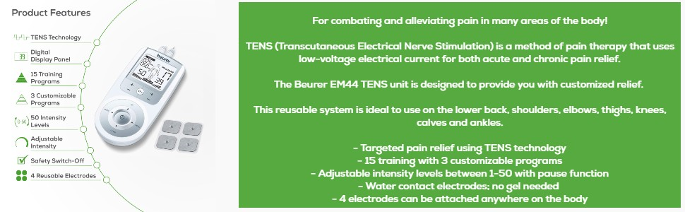 Tens Features, back pain relief products, tens unit muscle stimulator, back pain, replacement pads