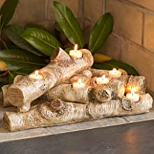 13941 Logs Hearth Candle Holder candleholders, Plow & Hearth Faux Wood Resin Logs Tea Lights
