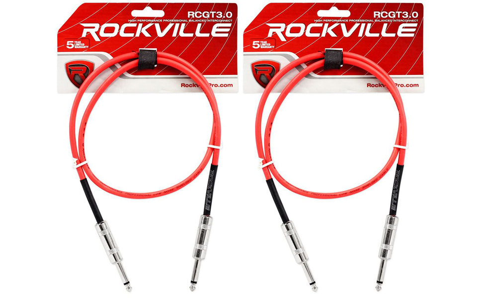 """2 Rockville RCGT3.0G 3/'  1//4/"""" TS to 1//4/'/' TS Guitar//Instrument Cable"""