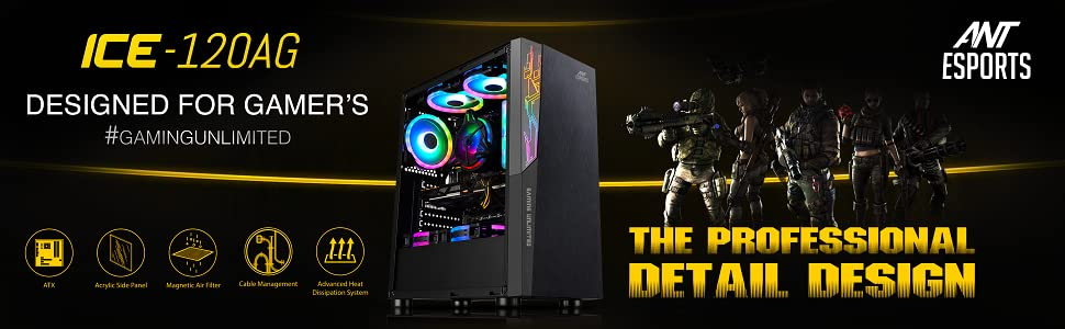Amazon.in: Buy Ant Esports ICE-120AG Mid Tower Computer Case I Gaming Cabinet Supports ATX, Micro-ATX, Mini-ITX Motherboard with 1 x 120 mm Rear Fan Preinstalled - Black Online at Low Prices in