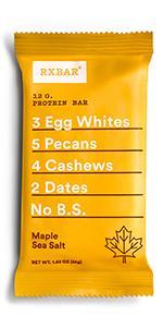 Maple, Sea Salt, protein bar, rxbar, rxbars, protein bars, health bar, protein
