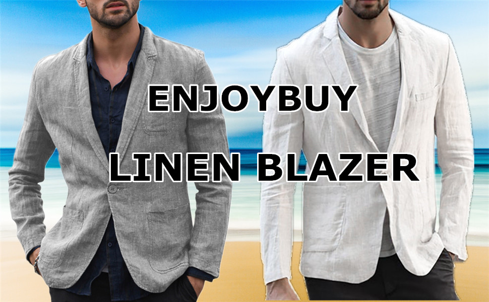 aihihe Casual Blazer for Men Slim Fit Long Sleeve Two-Button Linen Tailored Lightweight Suit Jacket Sport Coat