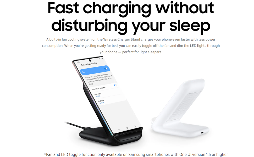 Samsung Original Wireless Charging Stand 15 W – Qi Compatible Samsung Wireless ChargerSamsung Galaxy Fast Wireless Charger with Built In Cooling Fan
