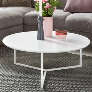 FineBuy Design Couchtisch White 80 cm Rund Weiß Matt lackiert ...