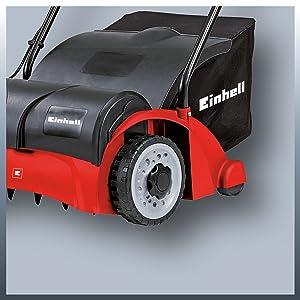 Einhell GC-SA 1231/1 - Escarificadora eléctrica (1200 W, 230V, 3 niveles de profundidad, ancho de trabajo: 31cm, capacidad de bolsa: 28L, con rodillo ...