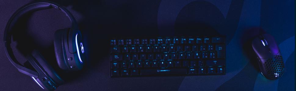 Newskill Pyros Teclado Mecánico Gaming RGB Ultra Compacto 60% con Software Customizable y 17 Modos de Iuminación - Conexión USB Tipo C/Bluetooth - ...