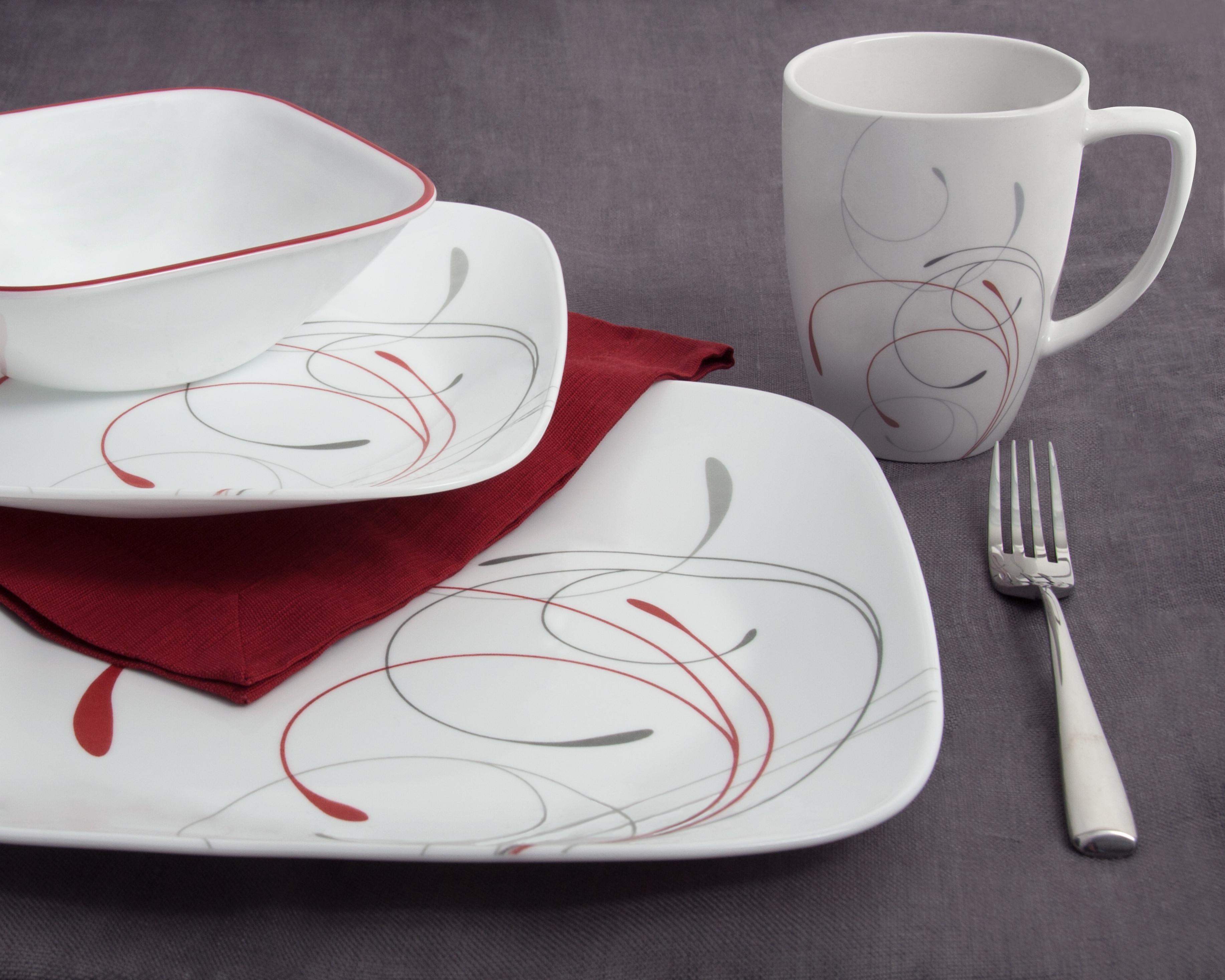 corelle square 6 piece dinner plate set splendor amazon. Black Bedroom Furniture Sets. Home Design Ideas