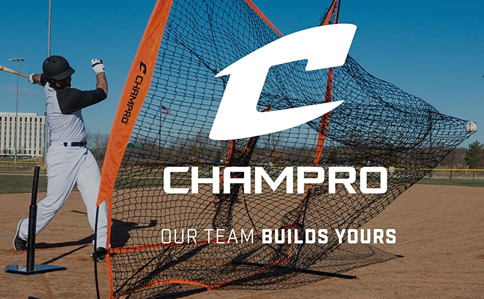 CHAMPRO Sports Our Team Builds Yours Baseball Net Banner