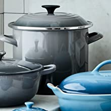 Le Creuset stockpot shown in Oyster