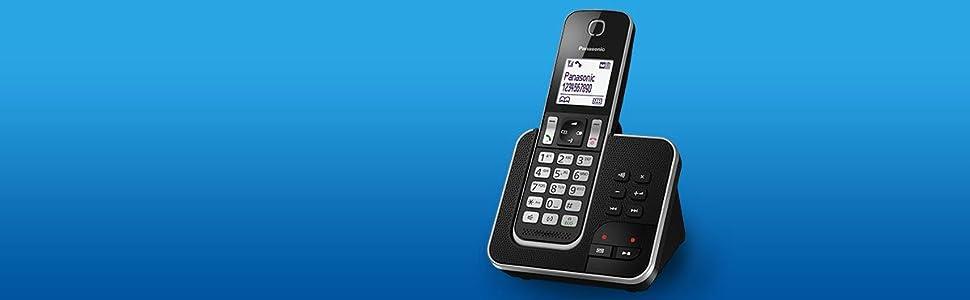 Panasonic KX-TGD320 - Teléfono Fijo Inalámbrico con Contestador (LCD, Identificador de Llamadas, Agenda de 120 Números, Bloqueo de Llamada, Modo ECO, Reducción de Ruido) Color Negro: Panasonic: Amazon.es: Electrónica