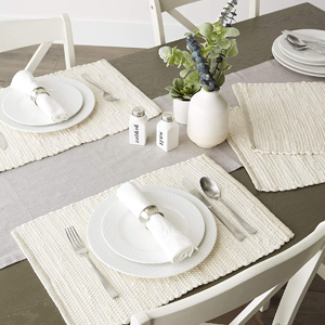 boho, holiday, cloth, decorations, placemat, cotton, striped, stripe, cream, theme, shower, outdoor