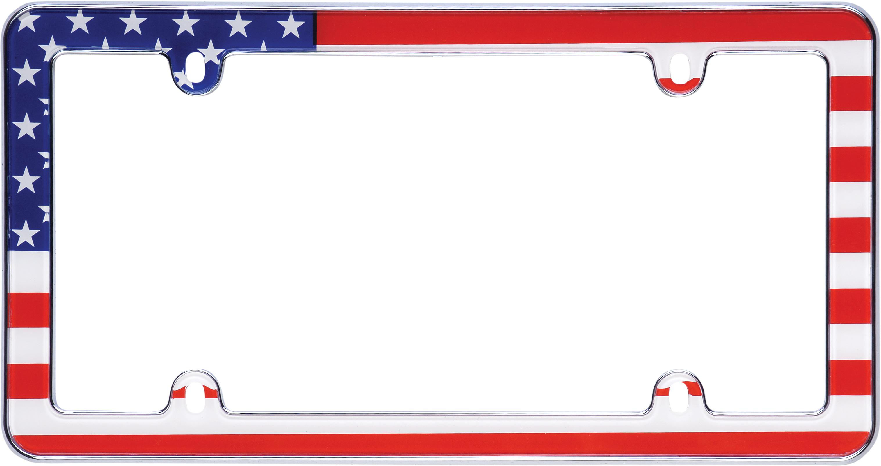 Amazon.com: Cruiser Accessories 23003 Chrome USA Flag License Plate ...
