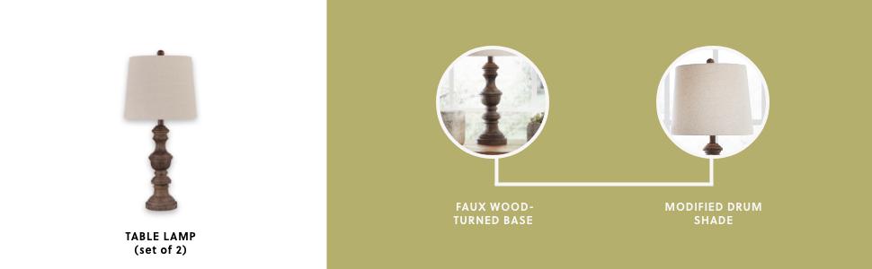 set of 2 table lamp sculptural faux wood turned base rectangular hardback shade white brown