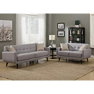 AC Pacific Crystal Collection Upholstered, Tufted, 2 Piece Sofa Set With  Pillows