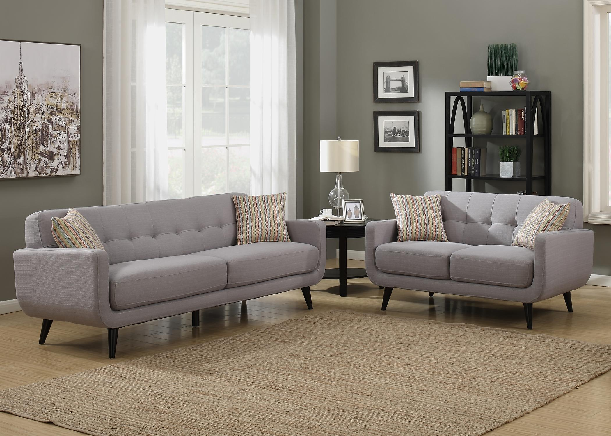Ac pacific crystal collection upholstered gray mid century 3 piece living room set Upholstered sofas and loveseats
