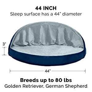jumbo; xl; furhaven; dog; cat; pet; bed; oval; circle; round; snuggery; blanket; hood; tent; cave