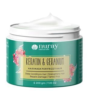 keratin geranium hair mask spa treatment cream nuray naturals frizzy dry