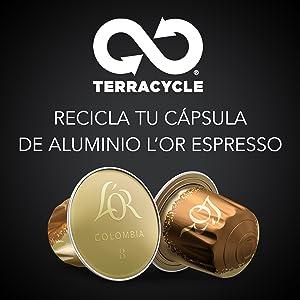 LOr Espresso Café Colombia Intensidad 8 - 50 cápsulas de aluminio compatibles con máquinas Nespresso (R)* (5 Paquetes de 10 cápsulas)