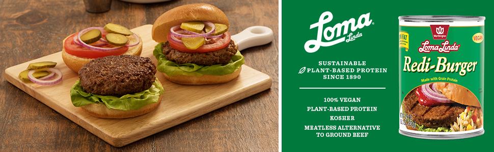 Amazon Com Loma Linda Plant Based Redi Burger 19 Oz Pack Of 12 Kosher Grocery Gourmet Food