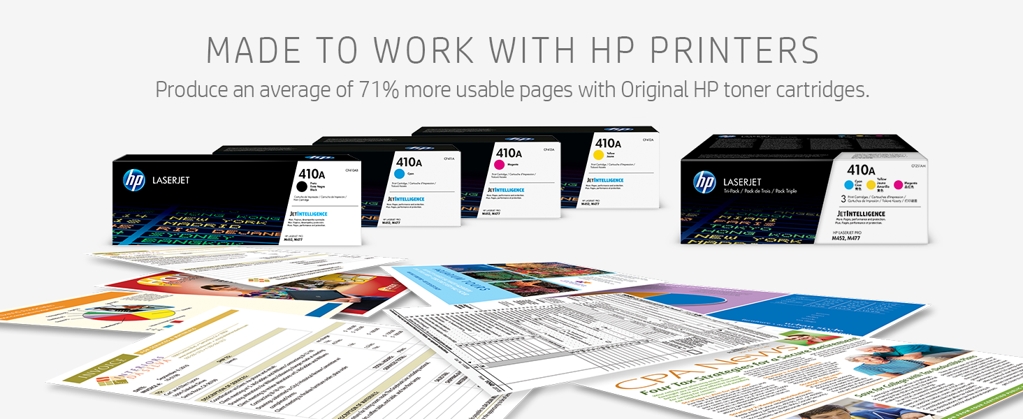 Produce an average of 71% more usable pages with Original HP toner cartridges.