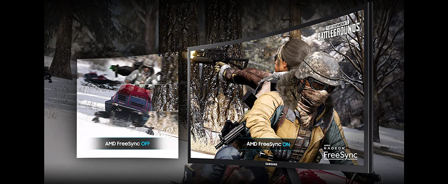 Player Unknown's Battleground being played with vs. without AMD Radeon FreeSync