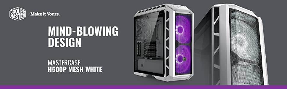 Cooler Master H500 H500P Mesh White RGB fans high airflow air flow HAF mid tower midtower mid-tower