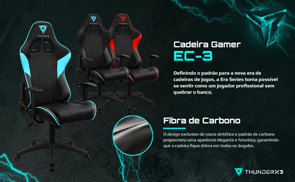 Cadeira Gamer EC-3 era series profissional fibra de carbono conforto gaming chair